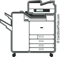 grande, impressora, copiador, escritório