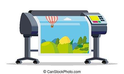 grande, impressora, service., formato, printer., isolado, ilustração, caricatura, printshop, apartamento, multifunction, vector., polygraphy, plotter