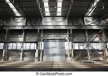 grande, industria, puerta del garage
