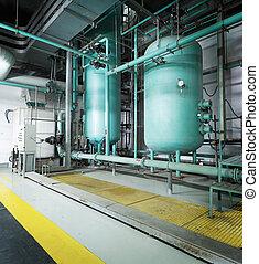 grande, industrial, sala de calderas