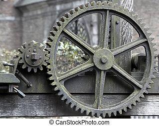 grande, industrial, viejo, engranajes, oxidado