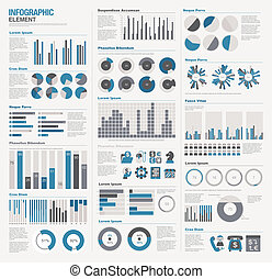 grande, infographic, jogo, elementos
