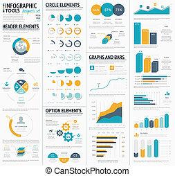 grande, infographic, vettore, t, elementi