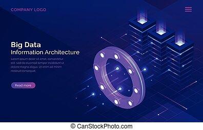 grande, información, datos, isométrico, concepto, tecnología
