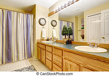 grande, interior, cuarto de baño, vanidad, gabinete