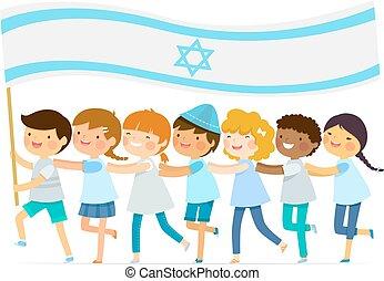 grande, israelita, crianças, bandeira