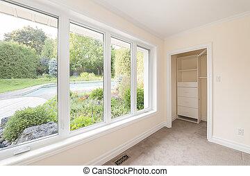 grande, janela, quarto