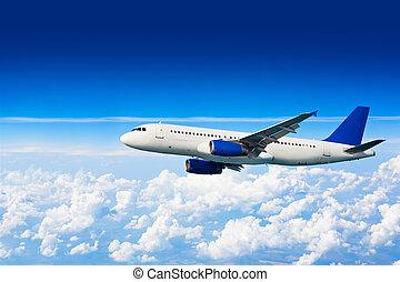 grande, jet, aeroplano, sopra, nubi