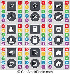 grande, jogo, colorido, apartamento, calculadora, base dados, casa, galeria, símbolo., magnificar, botões, scooter, firtree, vidro, ícone, levantamento, seu, correio, design.