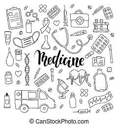 grande, jogo, de, mão, desenhado, doodle, medicina, com, lettering., mão, desenhado, caligrafia, e, escova, caneta, lettering, frase, medicina
