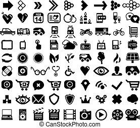 grande, jogo, de, pretas, universal, ícones correia fotorreceptora