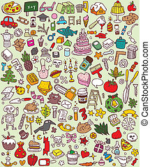 grande, jogo, doodle, ícones