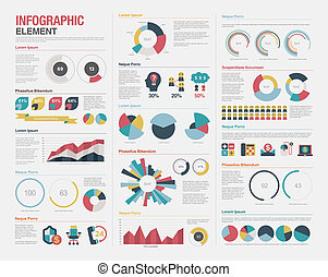 grande, jogo, elementos, infographics