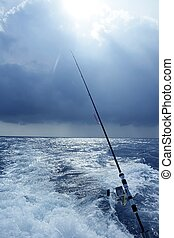 grande, juego, agua salada, pesca, pescador de caña, barco