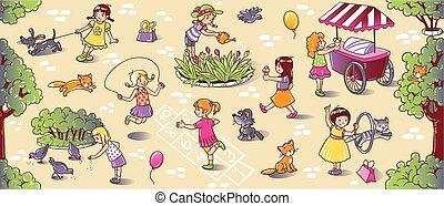 grande, juego, niñas, seamless, patrón