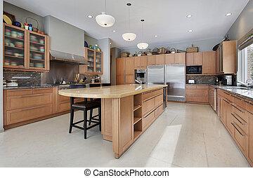 grande, lar, luxo, cozinha