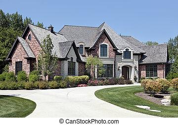 grande, lar, tijolo, entrada carro, circular