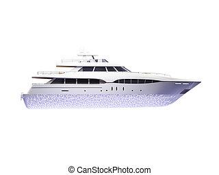 grande, lato, yacht, isolato, vista