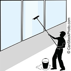 grande, lavadora de ventana