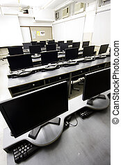 grande, lcd, sala de ordenadores, exhibiciones