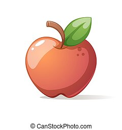 grande, leaf., manzana, rojo