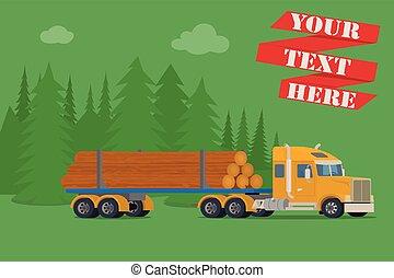 grande, legno, camion, legname
