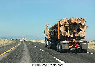 grande, legno, camion, trasportare, strada
