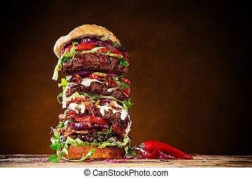 grande, legno, hamburger, delizioso