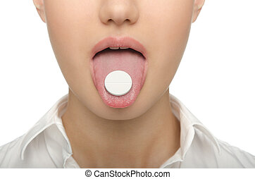 grande, lengua, tableta, mujeres