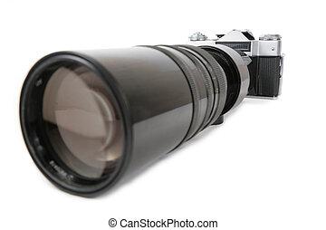 grande, lente, 2, macchina fotografica