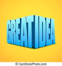 grande, letras, idéia, ilustração, experiência., luminoso, vetorial