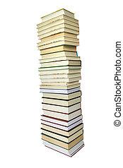 grande, libri, mucchio, isolato