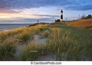 grande, lighthouse., sable, punto