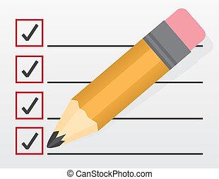 grande, lista de verificación, lápiz