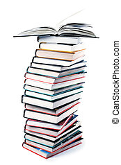 grande, livros, pilha, isolado