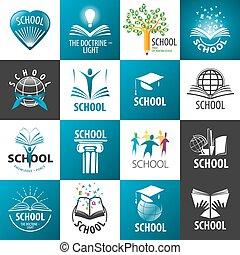 grande, logos, scuola, vettore, collezione