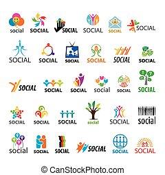 grande, logos, set, vettore, sociale
