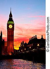 grande, london., ben, tower., reloj
