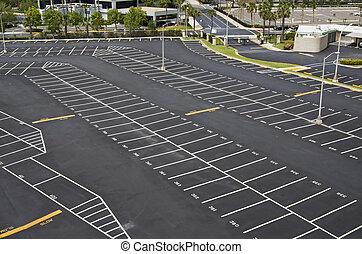 grande, lote, estacionamento