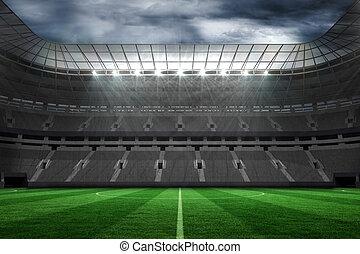 grande, luci, football, vuoto, stadio