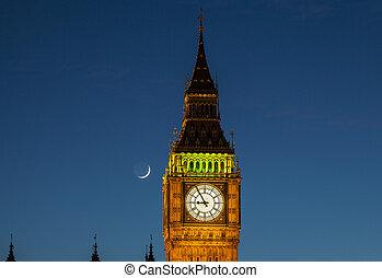 grande, luna, ben, anochecer