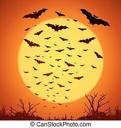 grande, luna gialla, silhouette, pipistrelli, fondo, arancia...