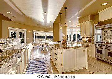 grande, luxo, cozinha, sala, em, bege, cores, com, granito, contador, topos, e, cozinha, ilha
