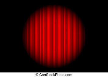 grande, luz del punto, cortina, rojo, etapa