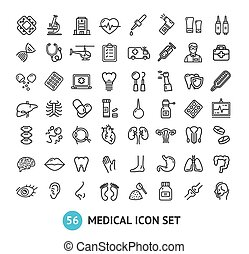 grande, médico, vetorial, pretas, magra, sinais, linha, set., ícone