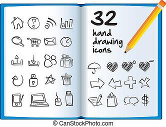grande main, livre, pencil., dessin, icône
