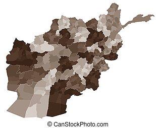 grande, mapa, afeganistão