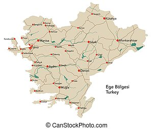 grande, mapa, b?lgesi, ege