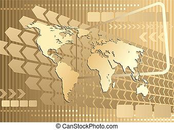 grande, mapa, ouro