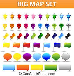 grande, mappa, set